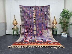 "Moroccan Boujaad Handmade Rug 5'6""x8'7"" Berber Abstract Purple Pink Wool Rug"