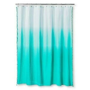 Ombre Seersucker Tassel Shower Curtain Tropical Green Pillowfort new