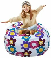Kid's Stuffed Animal Storage Bean Bag Chair with Extra Long Zipper, Carrying