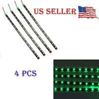 "Green 4PCS 12V 12"" 15SMD Flexible LED Strip Light Waterproof For Car Truck Boat"