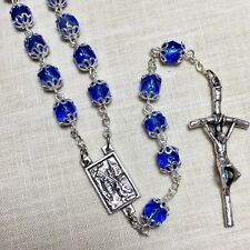"""Lourdes ROSARY assmbled in Poland Italian parts 21"""" BLUE CRYSTALS in basket"""