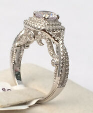 Vintage Halo Sterling Silver Round CZ Solitare Engagement Pave Set Wedding Ring