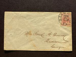 confederate stamps Scott 5a2 Rose  On Cover GC.  Scott  Price 750.00