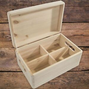 Medium Plain Wooden Storage Chest Box With Removable Compartments Lid & Handles