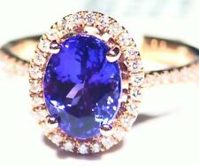 3.30CT 14K Gold Natural Tanzanite Diamond Vintage AAA Antique Engagement Ring