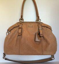 Coach 16363 Madison Handbag  Embossed Brown Leather Python  Snake skin Carryall
