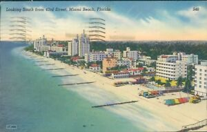 Florida miami beach looking south from 43rd street c1949 novelti craft products