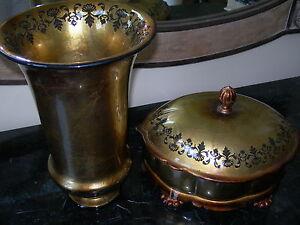 Garcia Imports Vase or Oval Bowl With Gold Leaf Decor
