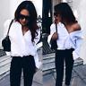 Fashion Womens V-neck Tops Loose Long Sleeve T-Shirt Casual Blouse Chiffon Shirt