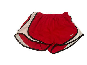Women's Nike Dri fit tempo running athletic shorts Medium Red, black and white