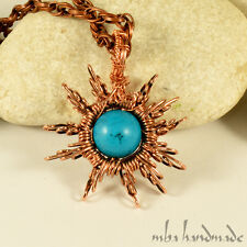 Natural Turquoise Crystal Star Necklace Wire Wrapped Artisan Jewelry