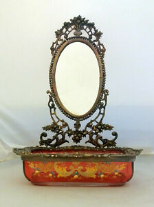 Antique Mirror with Pink Glass Case Handpainted