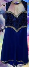 COSTUME CHEER/COLORGUARD ADULT M SEQUINS SHIMMER SPARKLE ROYAL BLUE HALLOWEEN!