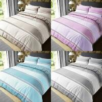 Striped Bedding Duvet Cover Set With Pillow Cases King Size Double Single Super