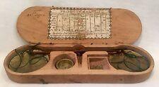 c1800 Small French Handheld Brass & Iron Balance w/ Weights & Original Wood Case