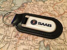 SAAB imprimé qualité véritable cuir noir Porte-clés 900 9000 92 96 SCANIA SONETT
