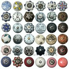 VINTAGE SHABBY CHIC BLACK WHITE CERAMIC CUPBOARD DOOR KNOBS DRAWER HANDLE KB01
