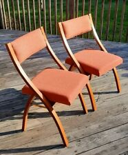 2x Beautiful Vintage Folding Chairs - MORGAN MFG CO, Michigan - Wood, Fabric