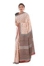 Indian Hand Block Print Ethnic Party Wear Wedding Designer Saree Sari Fabric