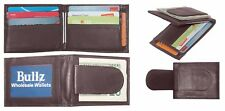 Men's Cow Leather Magnetic Money Clip Compact Bifold Front Pocket Wallet Brown