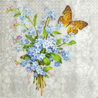 4x Single Table Party Paper Napkins for Decoupage Decopatch Myosotis butterfly