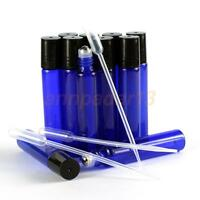 6Pcs--108Pcs Blue 10Ml Rollon Bottles Metal Roller Ball Tops-For Essential Oils
