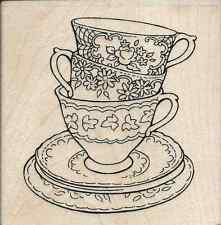 """""""Teacup Trio"""" Rubber Stamp by Stampendous"""