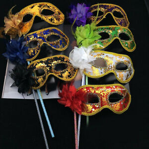 1PCS Venetian Masquerade Eye Mask On Stick Mardi Halloween for Party Prom Ball