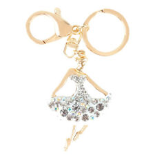 Ballet White Dancing Girl Lady Pendant Charm Crystal Purse Bag Keyring Chain Gif