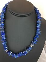 Native American Lapis Lazuli Strand Sterling Silver Necklace Mens
