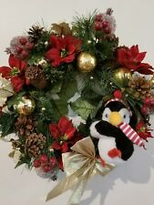 "14"" Christmas Holiday Wreath Plush Penguin Red Poinsettia Gold Balls Pine Cones"