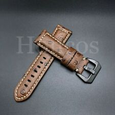 22 MM Ostrich Brown Leather Watch Band Strap Clasp fits for Panerai Black Buckle