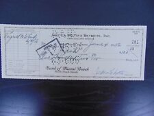 """The Raging Bull"" Jake LaMotta Hand Signed Check From 1956 Todd Mueller COA"