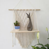 Macrame Wall Hanging Handwoven Cotton Rope Tapestry Storage Shelf Organizer