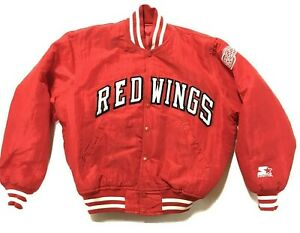 Vintage Detroit Red Wings Starter Jacket Adult Small Insulated Button USA Satin