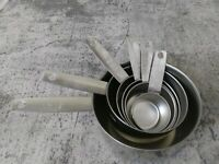 Set Of 6 Vintage FOLEY Stainless Measuring Cups W/Spouts ~ 2, 1, 1/2,1/3,1/4,1/8