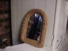 SMALL WICKER FRAMED MIRROR