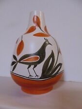 Italian Art Pottery Vase - Peacock - Hand Painted - Unique
