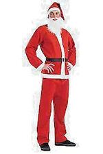 Traje de Navidad Santa Papá Noel 5PC Deluxe adultos traje completo con barba UK