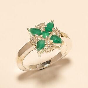 Natural Zambian Emerald Ring 925 Sterling Silver Handmade Statement Jewelry Gift