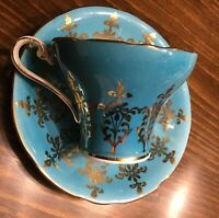 Aynsley Cup & Saucer Corset style Sparkling Gold pattern  Blue Vintage Lovely!