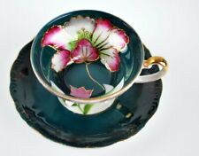 """Antique Porcelain Footed Jewel Peony Fine china cup and saucer Green Pink 4"""""""