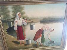 gorgeous vintage estate Russian original oil painting antique frame signed
