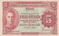 Vintage Banknote Malaya Straits Settlements 1941 5 Cents Pick 7b TDLR US Seller