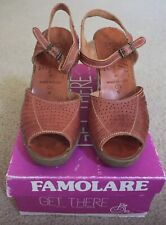 Vintage Women's Famolare Wedge Sandals, Brown, 7.5, Made In Italy, Euc