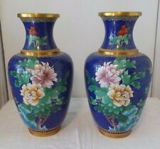 """VINTAGE PAIR OF CLOISONNE VASES 16"""" TALL WITH ROSES & BIRDS FLORAL"""