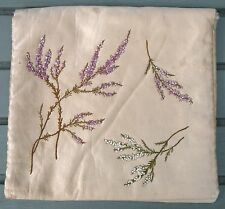 "VINTAGE SILK EMBROIDERED PADDED LINED HOSIERY CASE  10"" X 11"""