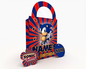 Personalised Sonic The Hedgehog Party Bag Gift Favour Box Treat Bag Red & Blue