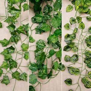 12 Artificial Fake Ivy Silk Hanging Vine Green Plant Leaf Rattan Wall Decor 2.1m