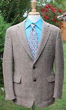 Jos. A. Bank Men's Harris Tweed Sport Coat Brown Leather Buttons Herringbone